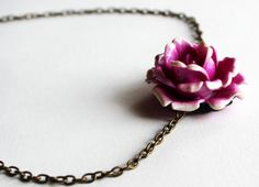 Purple resin cabochon rose necklace flower by asteriascollection, $11.00