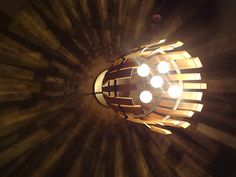 Recycled Wine Barrel lighting inside Helwig winery caves in Amador County