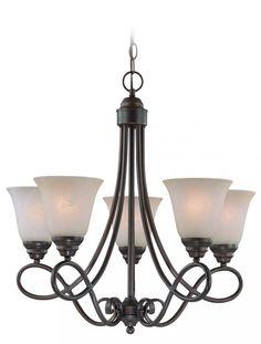 Five Light Old Bronze Faux Alabaster Shade Up Chandelier : 44Z8 | Magnolia Lighting, Inc.