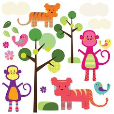 Spin Collective Jungle Animals Wall Stickers