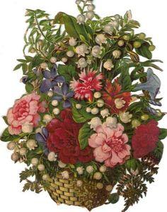 Victorian Die Cut Scrap Wicker Basket w Carnations & Lov s c1880s