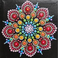 Mandala Painting on Black - Fiesta Colors...