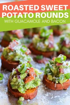 This recipe for Roasted Sweet Potato Rounds with Guacamole and Bacon makes the perfect snack or appetizer for your next gathering! This easy-to-prep dish takes just 15 minutes to prep, pop it in the oven for 40 minutes, and voila! You've got a healthy, delicious dish that everyone will love.
