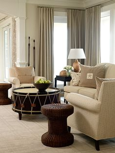 Vintage Drums as coffee table in living room.not feeling the rest of the room, but the table,. Classic Living Room, Home Living Room, Living Spaces, Drum Coffee Table, Drum Table, Sarah Richardson, Lounge, Beautiful Interiors, Decoration