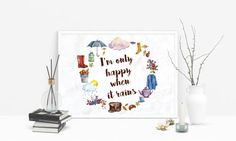 Your place to buy and sell all things handmade Quote Prints, Wall Art Prints, Leaf Wall Art, Autumn Clothes, Personalized Wall Art, When It Rains, My Cup Of Tea, Typography Quotes, Print Packaging