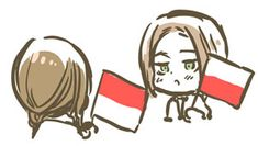 Chibi Poland and Monaco, Hetalia — You, like, totally stole my flag idea and flipped it upside down, Monaco... Totally not cool.