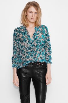 Zadig et Voltaire printed shirt, long sleeves, with officer collar and raglan armholes, exclusive print designed by the japanese artist Ohtaké Tsukasa for Zadig et Voltaire, 57% viscose, 43% silk. Model is 177cm/ 5'8
