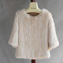 2016 Nouveau Style De Mode Femmes Manteau De Fourrure O-cou Trois Quarts Vêtements De Luxe Qualité Femmes Naturel Tricoté Lapin D'hiver Manteaux(China (Mainland))