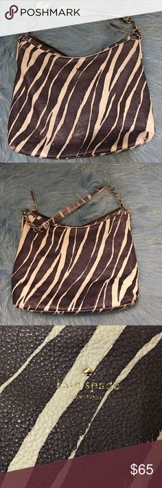 ✨Kate Spade ♠️ bag✨ Purpleish grey  and white zebra type print super cute bag. Has some places where the purple is wearing on the bag and handle. No tears or rips. Inside has some spots. There is writing inside the zipper pocket from the resale shop I got it from. kate spade Bags Hobos