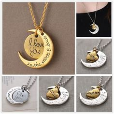 2015 Fashion Chic Jewelry Silver Gold I Love You To The Moon And Back Necklace #Unbrand