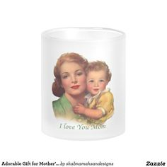 Adorable Gift for Mother's Day Frosted Glass Coffee Mug. Let your mum know just how special she is to you with this fabulous mug. A Sweet Surprise For Mother's Day! You can buy her matching coaster & a matching throw pillow from my shop. For more mother's day cards & gifts click here http://www.zazzle.com/shabnamahsandesigns  #vintage #mom #mother #wonderful #special  #mothersday, #message #love #adorable