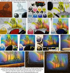 Northern Lights art tutorial Aurora Borealis night sky rubber stamp landscape Memento ink pads with sponge daubers Gelly Roll gel pens and white chalk pastel