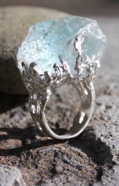 "This is definitely a Stone of Power! I think it needs a different setting, though. Wunderkammer, Freeform Aquamarine Ring. @Paige Sullivan says: ""This will be my engagement ring of doom. How bad ass would that be!"""