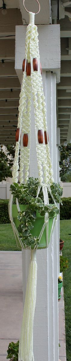 MACRAME...........PC...........ENCHANTMENT Macrame Plant Hanger, Ivory, by ChironCreations