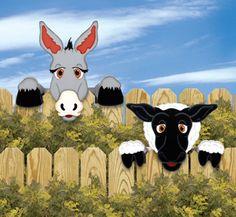 Donkey & Sheep Fence Peekers Wood Pattern