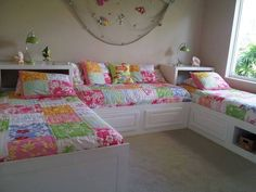 Beautiful bedroom for triplets or bedroom and couch for twins.