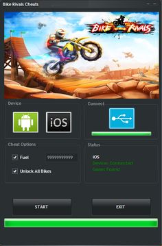 Bike Rivals Hack Tool (Android/iOS)   Bike Rivals Hack Tool(Android/iOS)  We want to present you an amazing tool calledBike Rivals Hack Tool.With ourBike Rivals Traineryou canget unlimited Fuel and Unlock All Bikes.Our soft works on allAndroidand iOS devices. It does not require any jailbreak or root. OurBike RivalsCheatis very easy to use. Just Connect your device select the device check the options you want to add click on the buttonStartand youre done!MoreoverBike Rivalstraineris very…