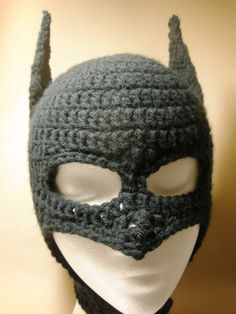 batman crochet hat I hope I can make in the future, first I must master my craft Learn To Crochet, Crochet For Kids, Crochet Crafts, Yarn Crafts, Yarn Projects, Crochet Projects, Crochet Beanie, Knit Crochet, Crocheted Hats