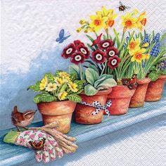 Windowsill with Flower Pots Decoupage Napkin
