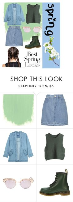 """""""Spring mess around! """" by ellie-jane-burke ❤ liked on Polyvore featuring Topshop, Steve J & Yoni P, WithChic, Le Specs, Dr. Martens and H&M"""