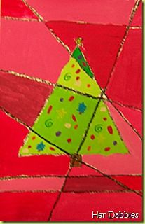 Cubist Christmas tree in tints & shades.  Can use silver pen for lines in tree & gold for background.