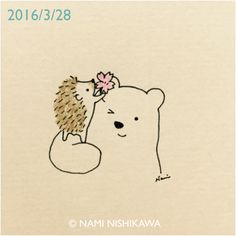 a cherry blossom ©Nami Nishikawa Hedgehog Drawing, Hedgehog Art, Hedgehog Illustration, Illustration Art, Illustrations, Kawaii Drawings, Easy Drawings, Baby Hedgehog, Dibujos Cute