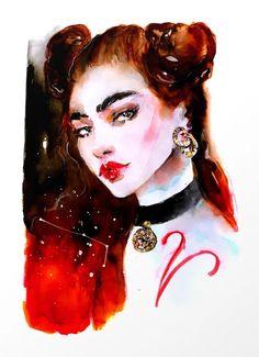 Aries Zodiac Watercolor Illustration Art Print by slvn - X-Small Arte Aries, Aries Art, Aries Astrology, Zodiac Art, Astrology Zodiac, Zodiac Signs, Aries Woman, Fantasy Portraits, Modern Art Paintings