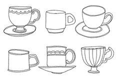 Teacup line drawings