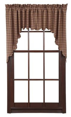 Our Prescott Scalloped Lined Swag Curtains will give your room a completed look and also add a feminine homey touch to any room in your home. https://www.primitivestarquiltshop.com/products/prescott-scalloped-lined-swag-curtains #countrystylecurtains