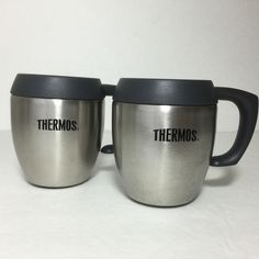 Set of 2 Thermos Cups Stainless Steel Dark Gray Coffee Mugs with Handles 8 Ounce | Sporting Goods, Outdoor Sports, Camping & Hiking | eBay!