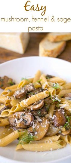 Easy Mushroom, Fennel & Sage Pasta is an easy dish that is on the table in about 20 minutes. Perfect for those busy weeknights and also makes delicious leftovers for lunch the next day. Yummy Pasta Recipes, Great Recipes, Cooking Recipes, Noodle Recipes, Favorite Recipes, Delicious Dishes, Family Recipes, Amazing Recipes, Sauce Recipes