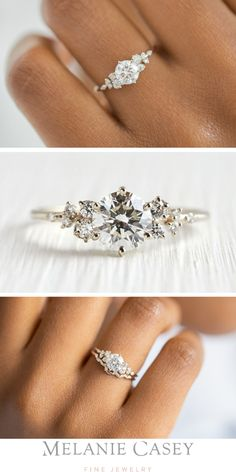 SNOWDRIFT RING Round Brilliant Diamond, White Gold Unique Engagement Ring A ct. round brilliant diamond is accented by white diamonds on a delicate 14 kt white gold band. Dream Engagement Rings, Rose Gold Engagement, Diamond Wedding Rings, Engagement Ring Settings, Vintage Engagement Rings, Delicate Engagement Ring, Wedding Rings Simple, Unique Wedding Rings, Wedding Rings Vintage