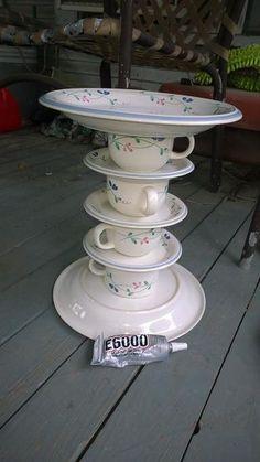 Got any old dishes lying around? Make a birdbath!