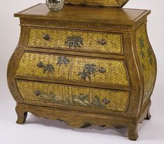 Luana Bombay Chest w Woven Fronts & Painted Palm Tree Motif | Buy Bedroom Furniture Online