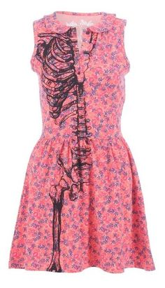 Weird skeleton floral dress. kind of wierd but intresting i would dig a person that could rock this!!