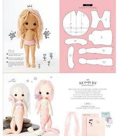 Felt Doll Patterns, Fabric Doll Pattern, Doll Clothes Patterns, Fabric Dolls, Stuffed Toys Patterns, Sewing Kids Clothes, Sewing Dolls, Doll Crafts, Diy Doll