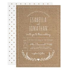 Cute Rustic Kraft & White Heart | Country Wedding Card - rustic gifts ideas customize personalize