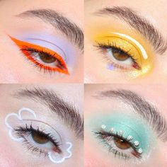 Here's a little compilation of the looks I've done inspired by Euphoria. Makeup Eye Looks, Eye Makeup Art, Crazy Makeup, Cute Makeup, Pretty Makeup, Skin Makeup, Eyeshadow Makeup, Neon Eyeshadow, Eyeliner Looks