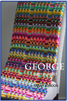 Inspiration :: 'George' baby blanket, by Sarah London; pattern $6.  This is a beautiful example of the Jacob's Ladder technique (link here ~ http://www.pinterest.com/pin/44332377553328666/ )   . . . .   ღTrish W ~ http://www.pinterest.com/trishw/  . . . .  #crochet #afghan #throw