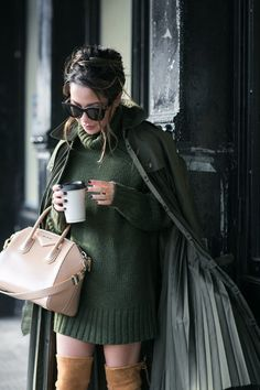 Forest Green :: Sweater dress & Over-the-knee boots