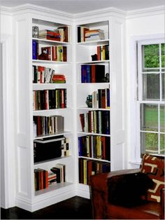 Using Corner Bookcase to get more space | Top Home Ideas