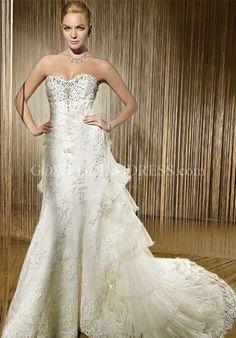 Sheath Strapless Sweetheart Floor Length Chapel Wedding Dress 1411