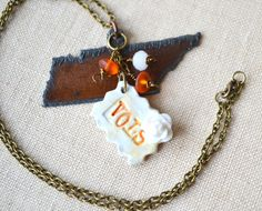 Tennessee Love  Charm Necklace  Tennessee VOLS  by PeeGeeJewelry, $26.00 Tennessee Game, Tennessee Girls, Tennessee Football, Fall Football, Football Girls, University Of Tennessee, Tn Vols, Love Charms, Tennessee Volunteers
