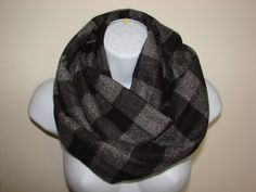grey black plaid infinity scarf flannel infinity by OtiliaBoutique