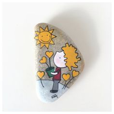 The little prince growing hearts painted stone by ColorJuice, $27.00