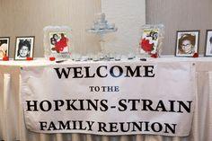 Hopkins-Strain Family Reunion banner. The Reunion, Diy Signs, Centerpieces, Banner, Holiday Decor, Asparagus, Board, Christmas, Ideas