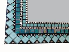 Mixed Media Mosaic Mirror in Turquoise and by GreenStreetMosaics Mirror Mosaic, Glass Mosaic Tiles, Mosaic Wall, Mirror Bathroom, Mosaic Crafts, Mosaic Projects, Mosaic Designs, Mosaic Patterns