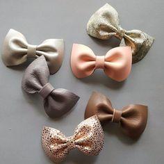 Sweet Leather Bow Headband or Hair Clip