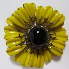 Sunny Schreiner Yellow Flower Brooch