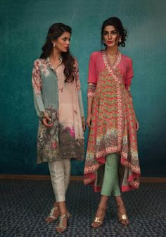 Nida Azwer balances the traditionalist side of her signature label brilliantly with modern universal aesthetics in her latest Eid campaign and it compliments the season perfectly! Her iconic angark… India Fashion, Ethnic Fashion, Asian Fashion, High Fashion, Punk Fashion, Lolita Fashion, Designer Kurtis, Designer Dresses, Pakistani Dresses